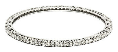 18ct White Gold Round Brilliant Diamond Bangle 6.50ct