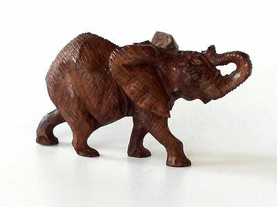 Hand Carved Wooden Elephant Figurine Sculptr African Iron Wood Carving Decor NOS