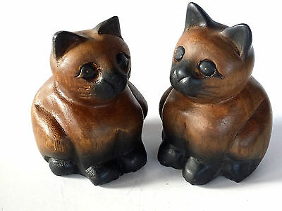 Hand Carved Wooden Cats Figurines Set Of 2 Teak Wood Carving & Painted Decor Nos