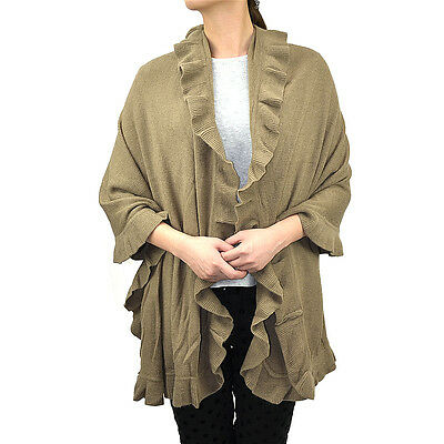Women's Ruffle Trim Knit Poncho-like Shawl Wrap Scarf Winter Warm Solid Color