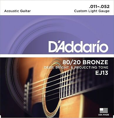 D'Addario EJ13 Custom Light Acoustic Guitar Strings 80/20 Bronze 11-52