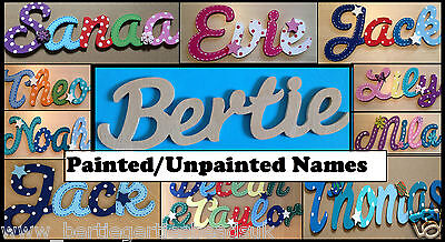 Personalised Scripted Script Wooden Name Plaque Customised Letters Kid Door Sign