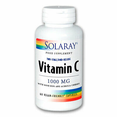 Solaray Vitamin C 1000mg Two Stage Timed Release 60 Vegan Friendly Capsules