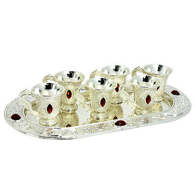 Set of 6 silver plated filigree Wine cups with tray Kiddush Judaica from Israel