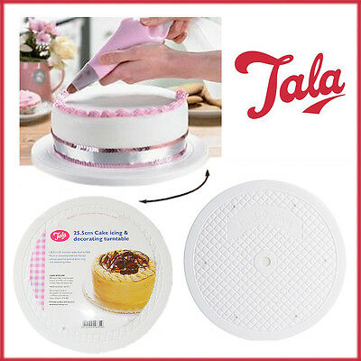 TALA Cake Decorating Turntable Icing 25.5cm Flat Holder 360 Rotating Slimline