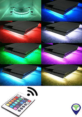 PS4 LAPTOP NOTEPAD RGB USB LED Design Cooling Fan Stand + mini controller+REMOTE