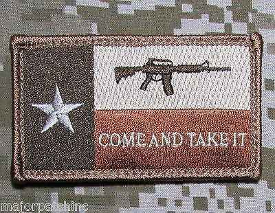Texas State Flag Come And Take It Usa Army Morale Tactical Desert Hook Patch