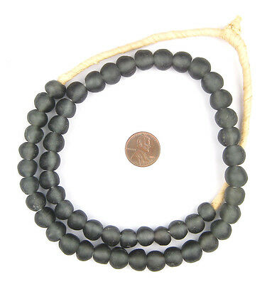 African Recycled Glass Beads - 11mm (Black) Ghana
