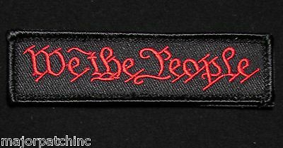 We The People Tab Usa Military Tactical Army Morale Black Ops Red Velcro Patch