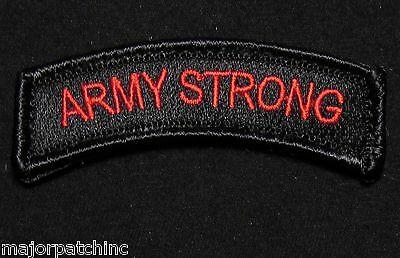 Army Strong Rocker Tab Usa Tactical Military Morale Black Ops Red Hook Patch