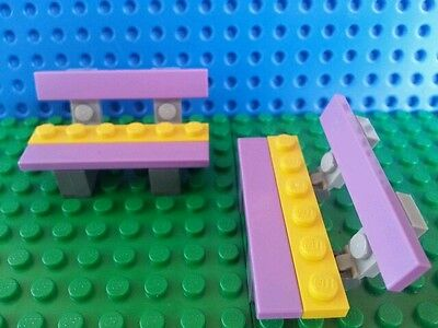 *NEW* 3 Pieces Lego Minifig WHITE BENCH Friends
