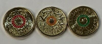 Set Of 3 Colour Printed $2 Uncirculated Remembrance Anzac Day Coins 2014 & 2015
