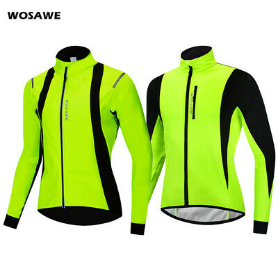Mens Cycling Jacket Winter Fleece Thermal Bicycle Riding Coat Windproof Bike