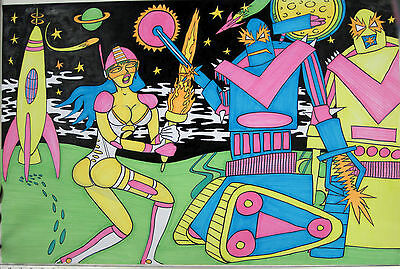 "Blacklight Poster 23""x35"" Space Girl Rocket Robots Moon Neon Drawing Art Origina"