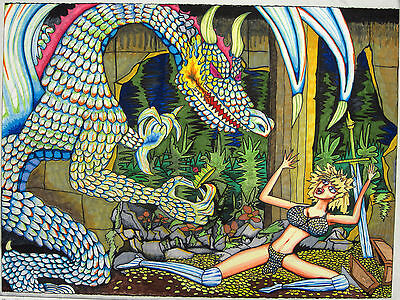 "Urban Poster 22.5""x30"" Fantasy Crystal Dragon Knight Coins Drawing Original"