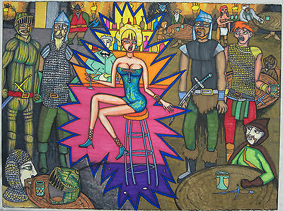 "Poster 22.5""x30"" Sci-Fi Bar Girl Time Travel Dress Dark Ages Drawing Art Origina"