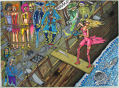 "Urban Poster 22.5""x30"" Fantasy Undead Pirate Ship Zombie Skeleton Drawing Origin"