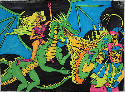 "Blacklight Poster 22.5""x30"" Neon Fantasy Fire Dragon Rider Girl Drawing Original"