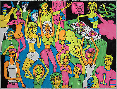 "Blacklight Poster 22.5""x30"" Neon Dancing Rave Girl Dj Drawing Original"