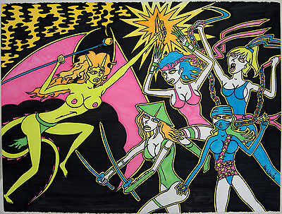 "Blacklight Poster Nudes 22.5""x30"" Neon Fantasy Dragon Girl Vs Ninjas Drawing Ori"
