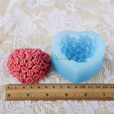 Nicole Flexible Easy Unmold Rose Heart Shape Silicone Soap Moulds DIY Soap Forms