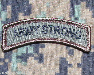 Army Strong Rocker Tab Usa Tactical Us Military Morale Badge Forest Hook Patch