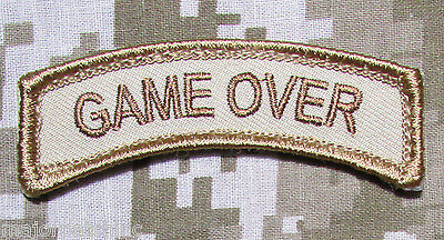 Game Over Rocker Tab Usa Army Tactical Military Morale Badge Desert Hook Patch