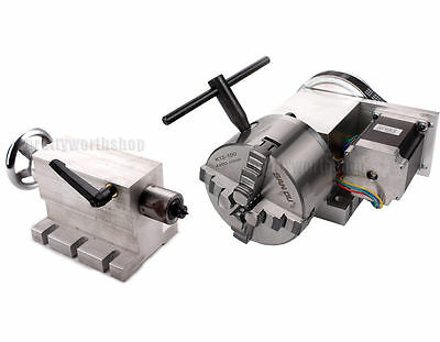 CNC Hollow Shaft 4th Axis Router Rotary  A Axis Φ100mm 4Jaw Chuck+65MM Tailstock
