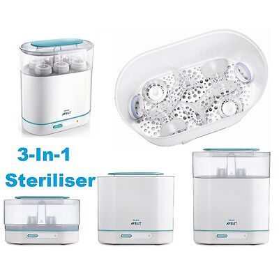 Philips AVENT 3-In-1 Steam Steriliser BPA-free Baby Set/Kit Electric Cleaner