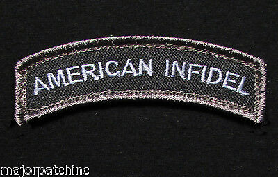 American Infidel Rocker Tab Usa Tactical Army Morale Black Ops Swat Hook Patch