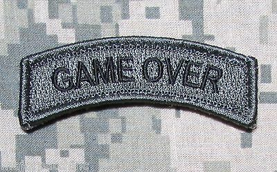 Game Over Rocker Tab Usa Army Tactical Us Military Morale Acu Dark Hook Patch
