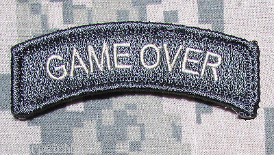 Game Over Rocker Tab Usa Army Tactical Us Military Morale Acu Light Hook Patch