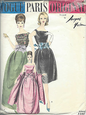 1960er Jahre Vintage Vogue-Schnittmuster B34 Kleid & Stola (R969) By Jacques