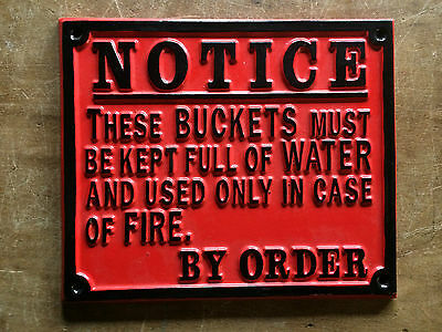 Vintage Fire Bucket Railway Gwr Cast Sign Plaque Train Old Antique Red Style