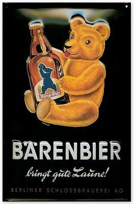 Embossed Vintage Retro Style Metal Sign Bärenbier Beer Bar Pub Restaurant Decor