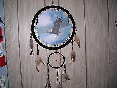 """DREAM CATCHER  with feathers wall hanging decoration ornament-EAGLE FISHING-13"""""""