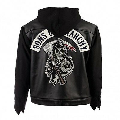 SOA Sons of Anarchy Hooded Real Leather/Faux Leather Jacket(All Sizes Available)