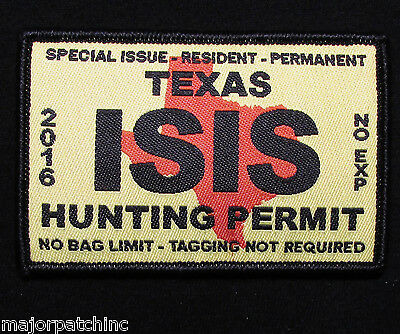 Texas Isis Hunting Permit Usa Army Military Tactical Morale Color Hook Patch