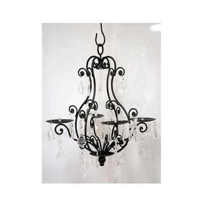 Black 4 Candle Hanging Chandelier Pear Shaped with Jewelled Pendants