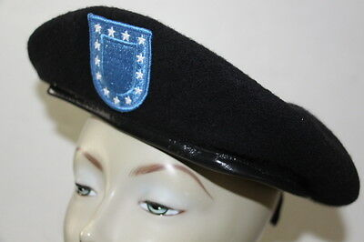 NEW U.S. Army Black Wool Beret Size 7 7/8 With Flash