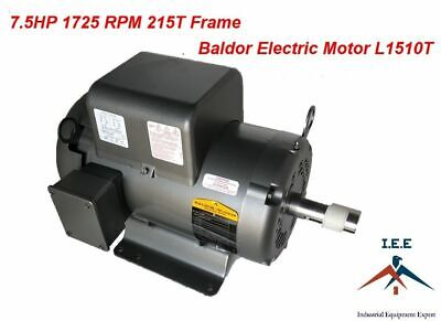 7.5HP Single Phase Baldor Electric Compressor Motor 215T Frame 1725 RPM 230 Volt