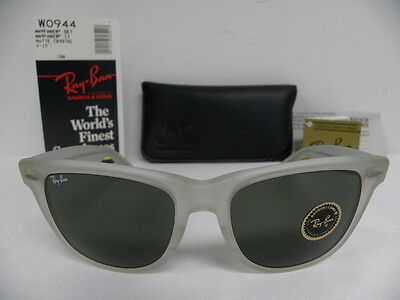 New Vintage B&L Ray Ban Wayfarer II Matte Crystal Clear Frosted 54mm W0944 NOS