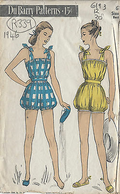 76744ff3609 DUBARRY 1940S PLAYSUIT PATTERN w  Skirt Romper Shorts 32 Bust ...