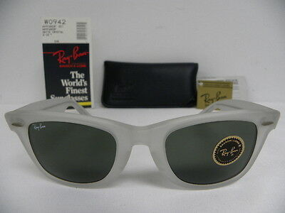 New Vintage B&L Ray Ban Wayfarer Matte Crystal Clear Frosted 50mm W0942 NOS