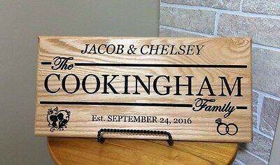 Engraved Personalized Wedding Signs Solid Oak