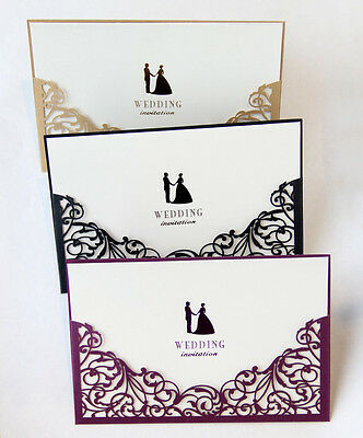 Laser Cut Wedding Invitations with Blank Insert Card and Envelope High Quality