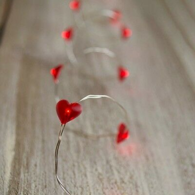 Miniature Dollhouse FAIRY GARDEN - Red Hearts LED Lights 40 Inches - Accessories