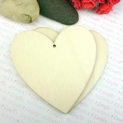 Buddly Crafts Wooden Heart Tag - 1pc 100mm W22