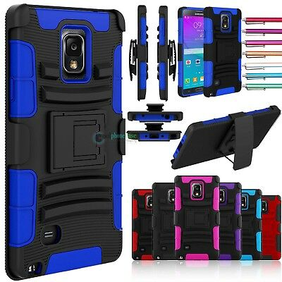 ShockProof Rugged Armor Case Belt Clip Holster Cover For Samsung Galaxy Note 4