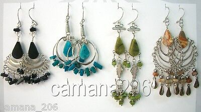 24 pair ALPACA EARRINGS WITH PERUVIAN STONES MIX DESIGNS MADE IN PERU